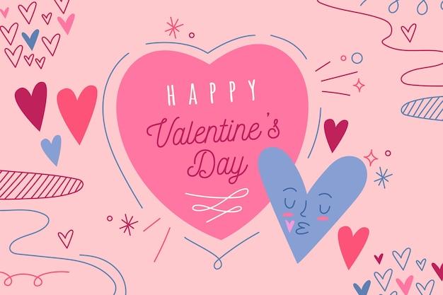 Hand drawn valentine's day background Free Vector