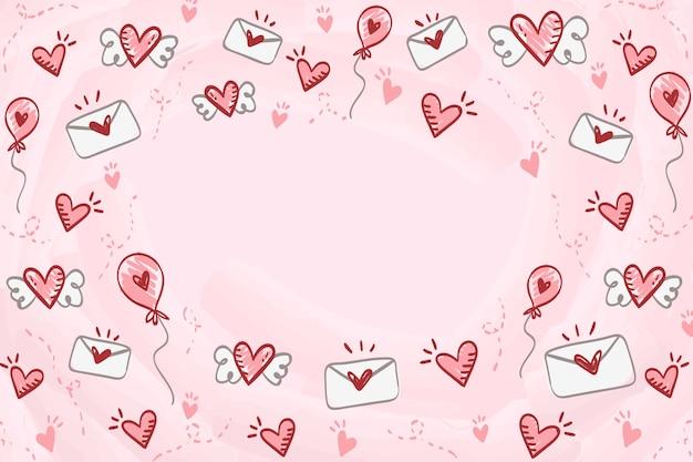 手描きのバレンタインデーの背景 Premiumベクター