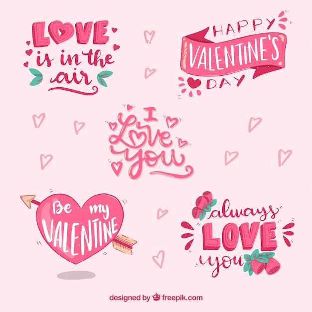 Hand drawn valentine's day badge collection Free Vector