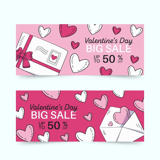 Hand drawn valentine's day banner with envelope Free Vector