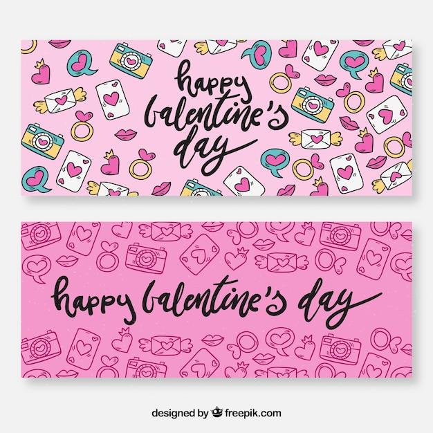 Hand drawn valentine\'s day banners