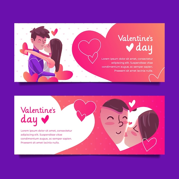 Hand drawn valentine's day banners Free Vector