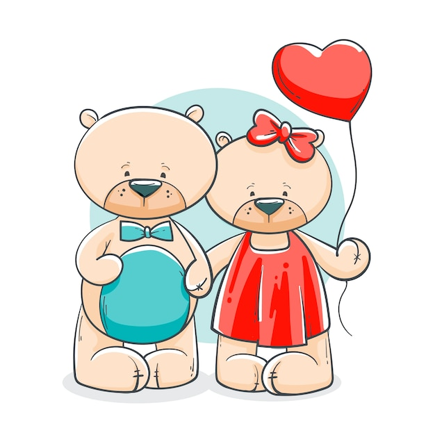 Hand drawn valentine's day bear couple Free Vector