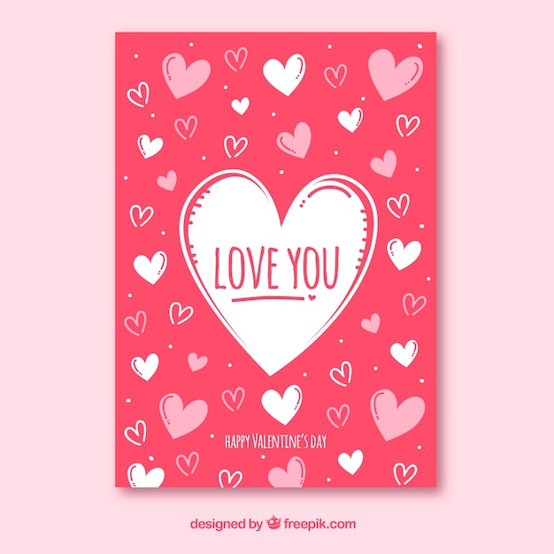 Hand drawn valentine's day card template Vector | Free ...
