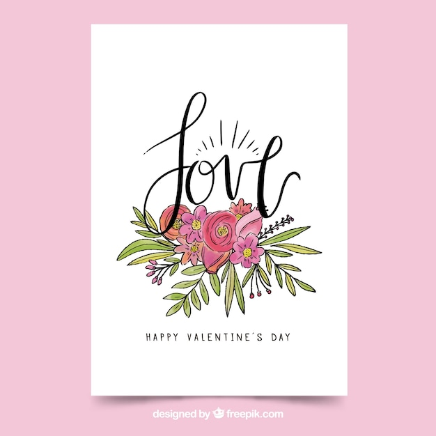 Hand drawn valentine\'s day card with\ letterin