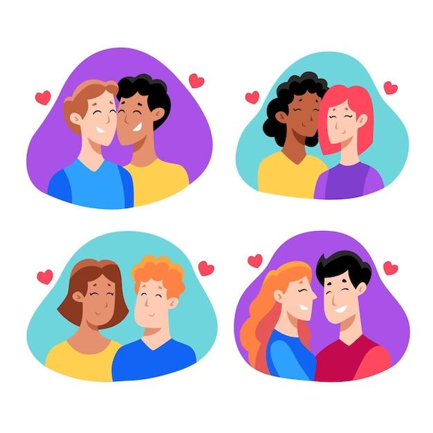 手描きバレンタインデーカップルコレクション 無料ベクター