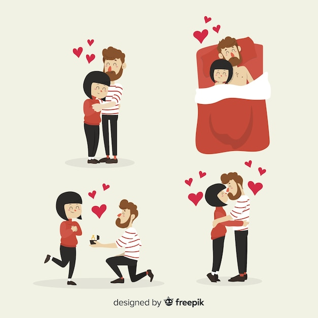 Hand drawn valentine's day couple pack Free Vector
