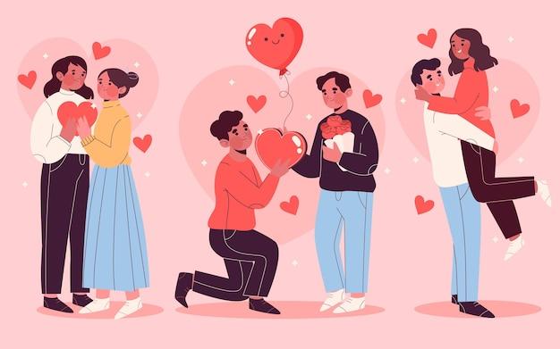 Hand drawn valentine's day couple set Free Vector