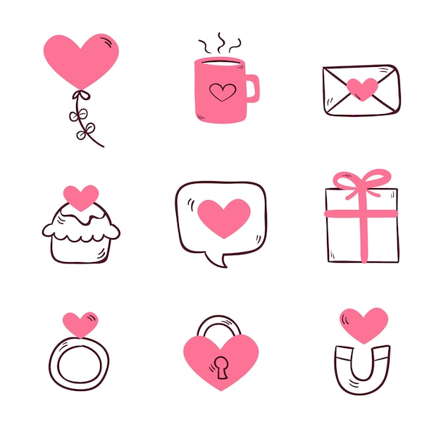 Hand drawn valentine's day element collection Free Vector