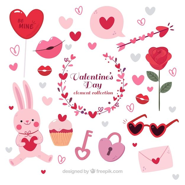Hand drawn valentine's day elements collection Free Vector