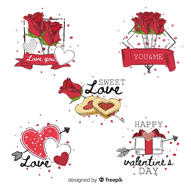 Hand drawn of valentine's day elements Free Vector