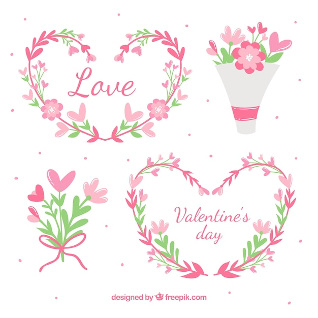 Hand drawn valentine\'s day floral wreaths &\ bouquets collection