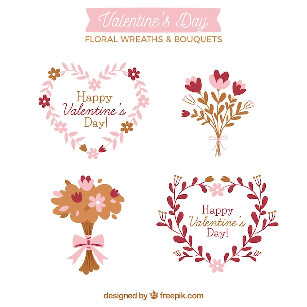 Hand drawn valentine's day floral wreaths & bouquets Free Vector