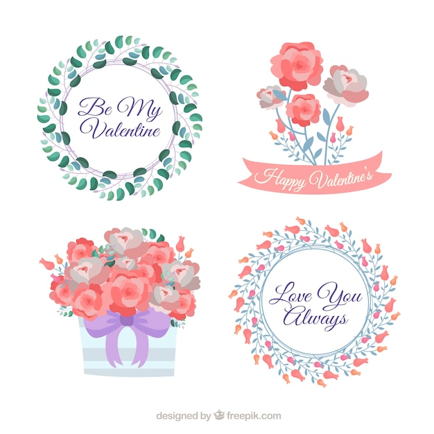 Hand drawn valentine\'s day floral wreaths &\ bouquets