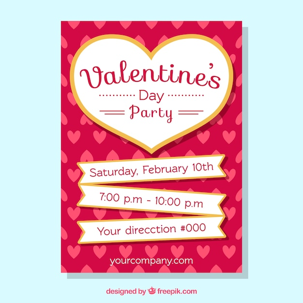 hand drawn valentine 39 s day flyer poster template vector free download. Black Bedroom Furniture Sets. Home Design Ideas