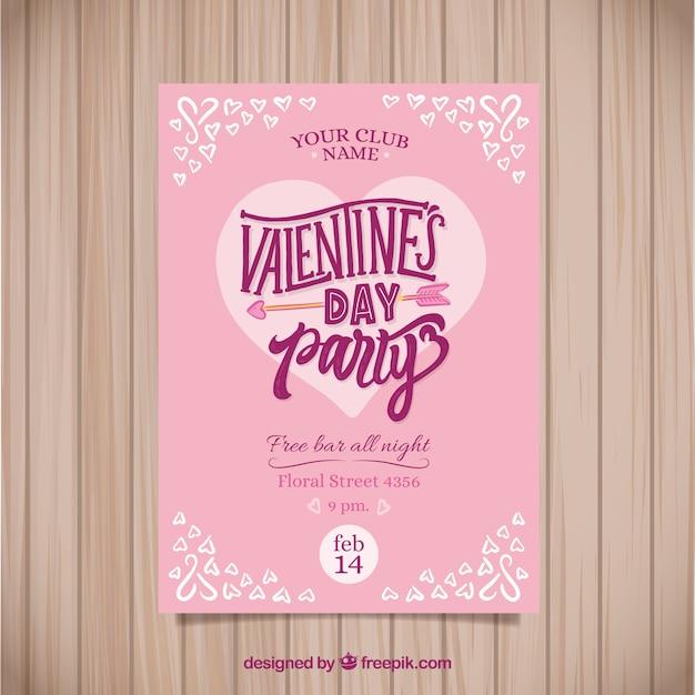 Hand drawn valentine\'s day flyer/poster