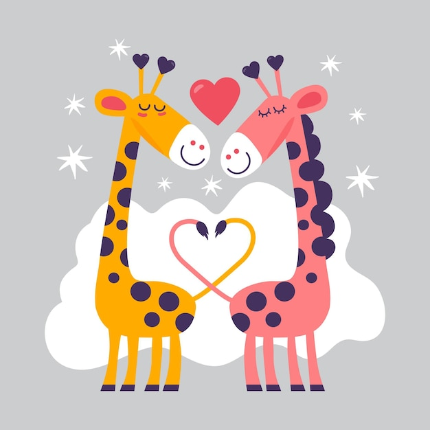 Hand drawn valentine's day giraffe couple Free Vector