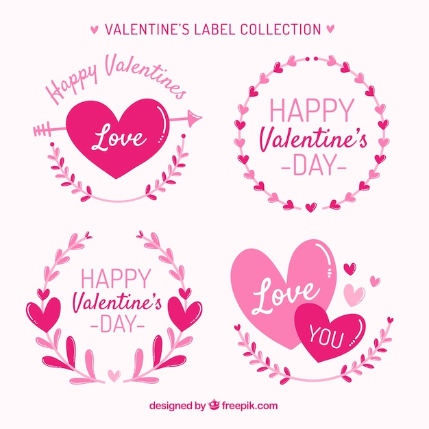Hand Drawn ValentineS Day LabelBadge Collection Vector  Free Download