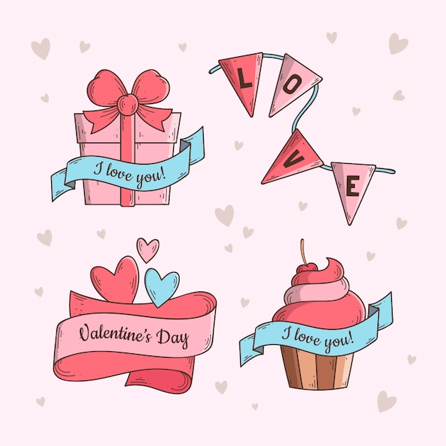 Hand drawn valentine's day label collection Free Vector