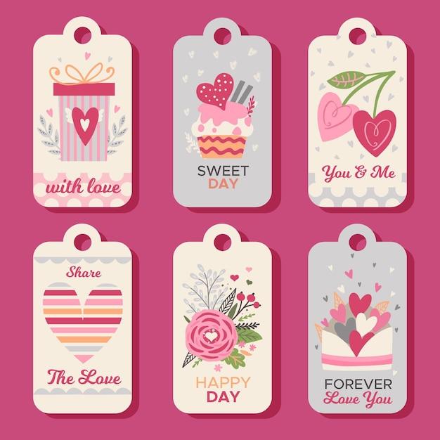 Collezione di etichette di san valentino disegnate a mano Vettore gratuito