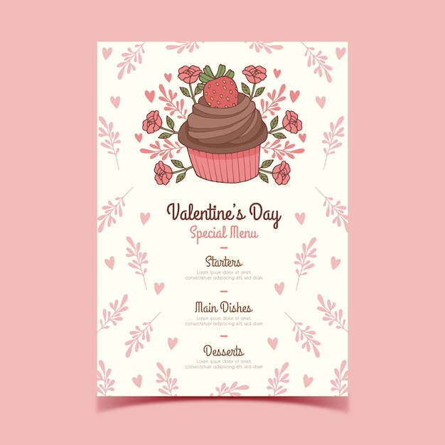 Hand drawn valentine's day menu with floral cupcake Free Vector