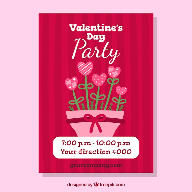 Hand Drawn Valentine S Day Party Flyer Poster Vector Free Download