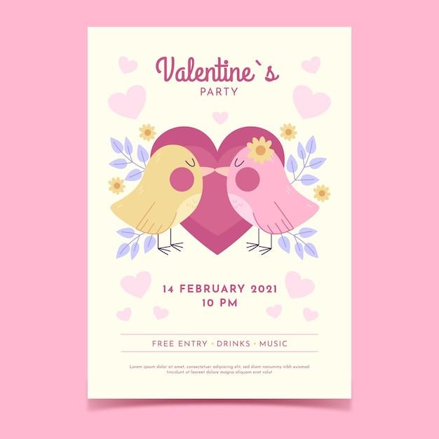 Шаблон плаката для вечеринки на день святого валентина Бесплатные векторы