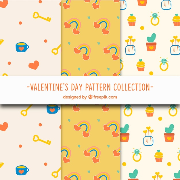 Коллекция с рисунком в день святого валентина с милой иллюстрацией Бесплатные векторы