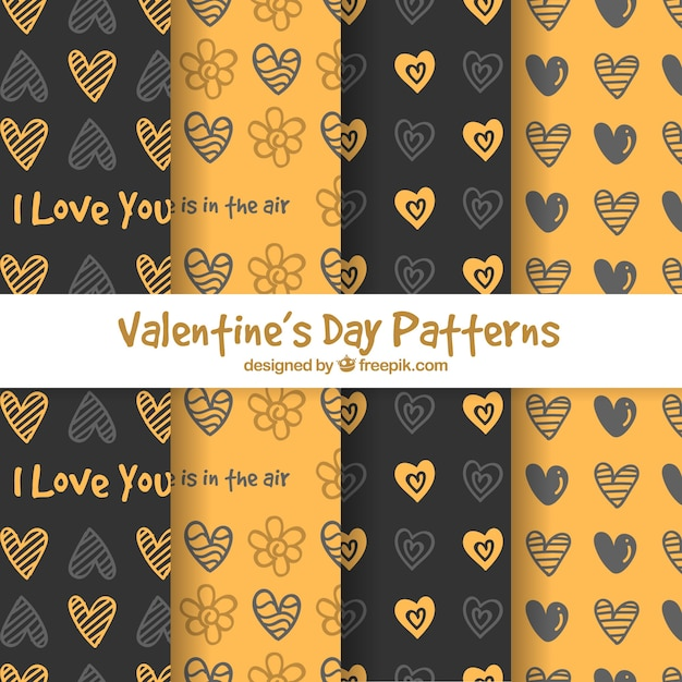 Hand drawn valentine's day pattern collection Free Vector