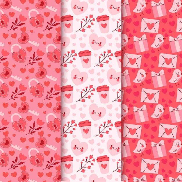 Hand-drawn valentine's day pattern collection Free Vector