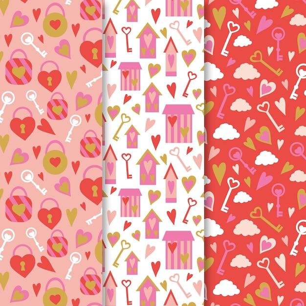 손으로 그린 발렌타인 패턴 컬렉션 프리미엄 벡터