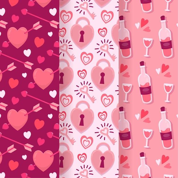 손으로 그린 발렌타인 패턴 컬렉션 무료 벡터