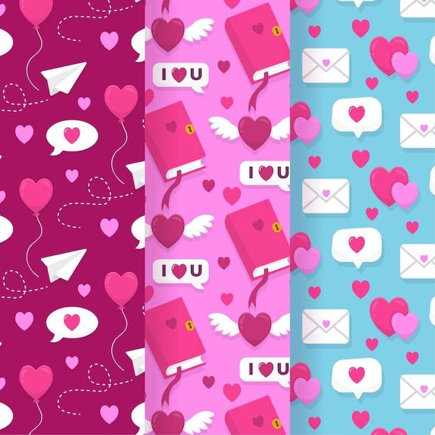 손으로 그린 발렌타인 패턴 세트 무료 벡터