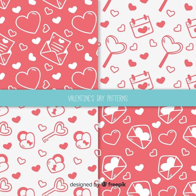 Hand drawn valentine's day pattern Free Vector