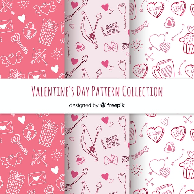 Hand drawn valentine's day pattern Free Vector
