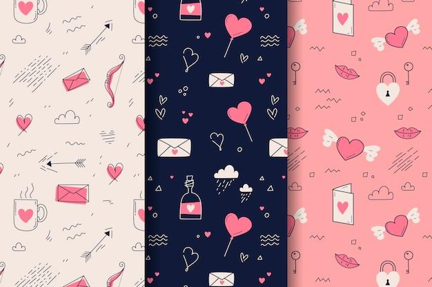 손으로 그린 발렌타인 패턴 무료 벡터