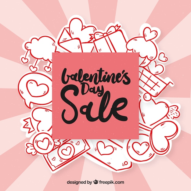 Hand drawn valentine's day sale background Free Vector