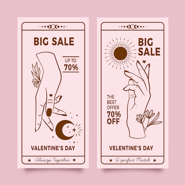 Hand drawn valentine's day sale banners pack Free Vector