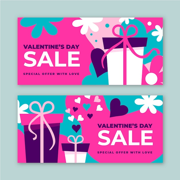 Hand drawn valentine's day sale banners Free Vector