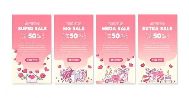Hand drawn valentine's day sale story Premium Vector