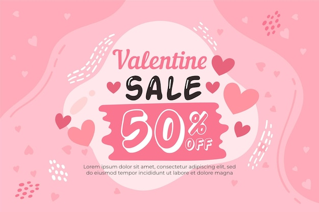 Hand drawn valentine's day sale with discount Free Vector