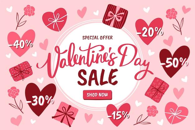 Ручной обращается валентина продажи со специальными скидками Бесплатные векторы