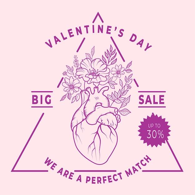 Hand drawn valentine's day sale Free Vector