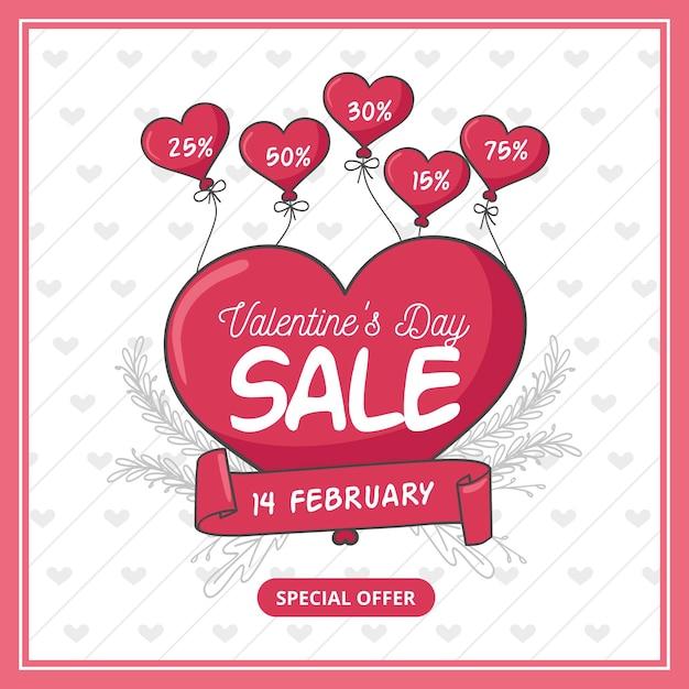 Banner quadrato disegnato a mano di san valentino in vendita Vettore gratuito