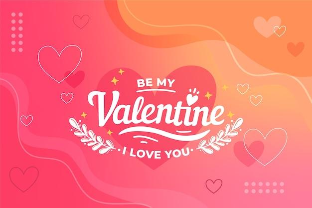 手描きのバレンタインデーの壁紙 無料ベクター