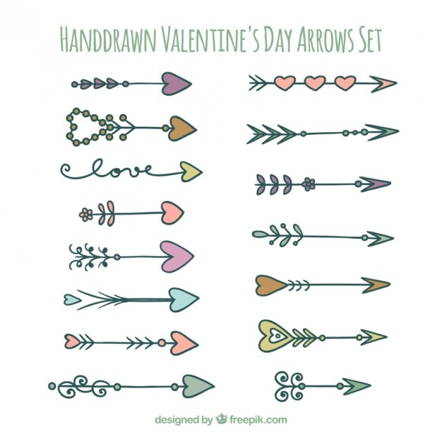 Hand drawn valentines arrows set