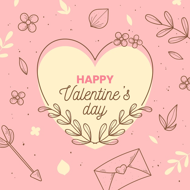 Hand drawn valentines day background concept Free Vector