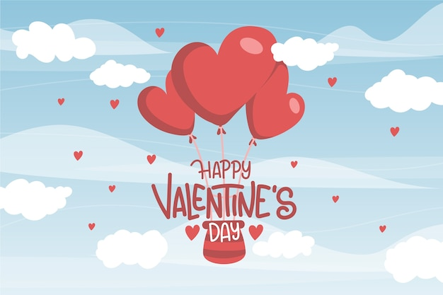 Hand drawn valentines day background Free Vector