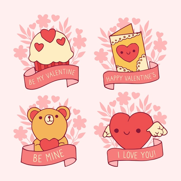 Hand drawn valentines day badge collection Free Vector