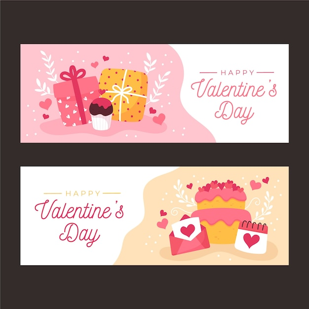 Hand drawn valentines day banners template Free Vector